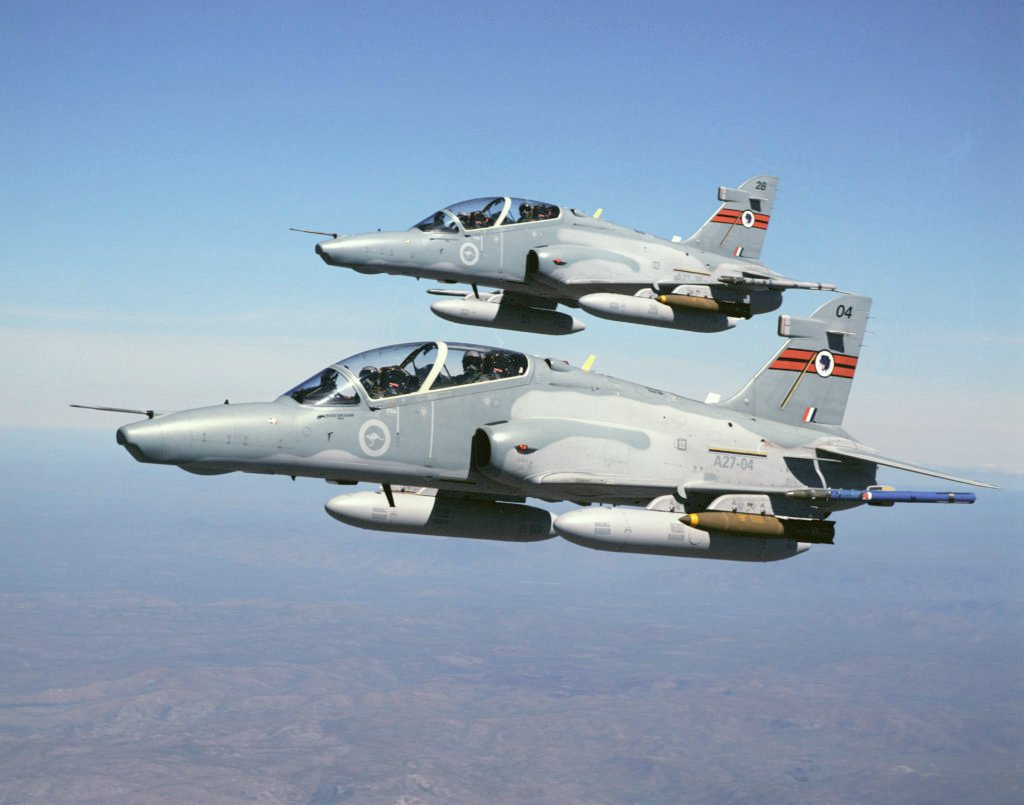 76SQN 127 Hawk Aircraft flying in formation over Far North QLD