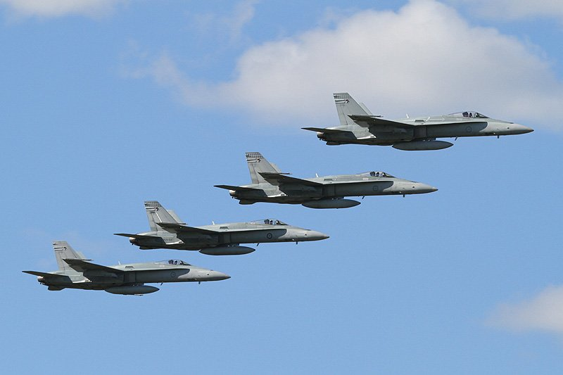 RAAF McDonnell-Douglas F/A-18A Hornets flying formation during the RAAF Pearce Air Show 2012. Photo: © Keith Anderson.