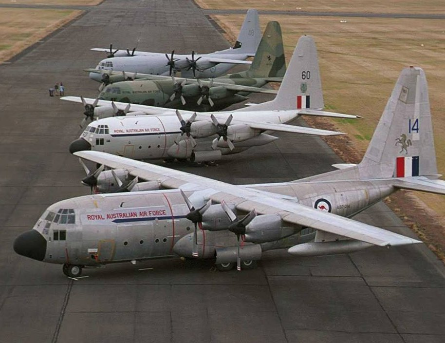 The four Lockheed C-130A/E/H/J Hercules models operated by the RAAF lined up at Point Cook. Photo: http://www.adf-serials.com.au/2a97.htm